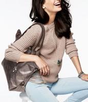 $49 Best Bag: Pewter Metallic Bag with Fuscia Interior