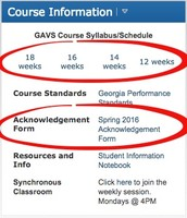 Course Schedules & Acknowledgement Form