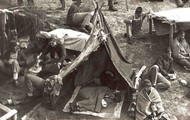 The prisoners slept in small tents that were not water or wind proof