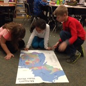 Mrs. Paster's 2nd grade researched on a map about the Great Lakes.