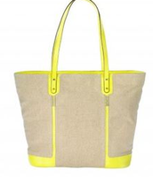 Classic linen & neon pop bag