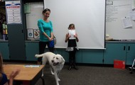 Katie brought her dog in for her speech!