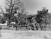 Union soldiers outside of the court house before battle.
