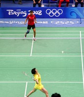 A Badminton Competition At The Beijing Olympics