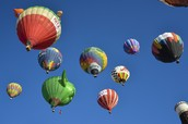 some colorful hot air balloons