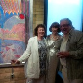 Anita, Gloria Vanderbilt and Barry Callaghan at the Spoke Club Gallery with one of Gloria's magical compositions.