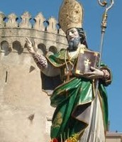 The statue of St. Sabino and our castle