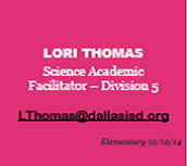 Lori Thomas's Division 5 Science Newsletter-See pdf. Attachment