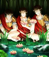 Three of Odysseus' Soldiers Eating Lotus Flowers