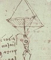 First sketch of Da Vinci's Parachute