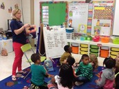 Mrs. Robinson uses equity sticks for whole group participation in 1st grade.