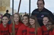 Dr. Wilson Greets Varsity Cheerleaders