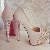 Red Bottoms But Pink With Gold Spikes