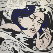 Roy Lichtenstein painting of the Drowning Girl.