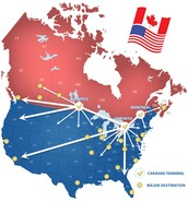 A map of the US and Canada.