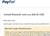 Instant Rewards sent me $40.00