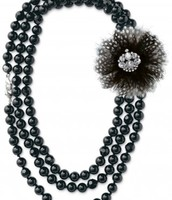 La Coco Jet Faceted Bead Necklace (Brooch not included)