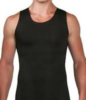 camiseta sin mangas negro seda es algodon ($ocho)