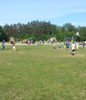 Students organize a game of kickball!