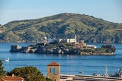View of Alcatraz and Angel Island from the City