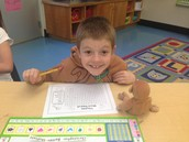 Chris loves his monkey helping him search for words.