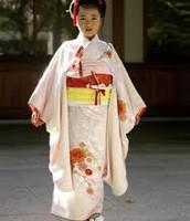 A little girl in a Kimono