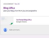 Find classmates URLs in the googleSheet