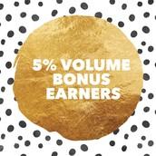 Kudos 5% Volume Bonus Earners!!