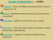 Factors of World War I: