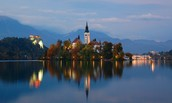 This is Lake Bled at night
