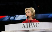 Hillary Clinton addressing the AIPAC conference in Washington D.C.