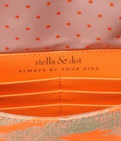 Inside the adorable Coral Aztec Clutch