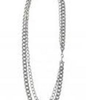La Coco Curb Chain Necklace w/ Bracelet - Silver