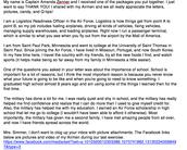 Letter from Sincerely,  Captain Amanda Zenner, South Korea
