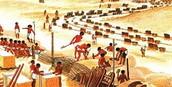 Bouw piramide door slaven