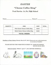 Order your Cheese Coffee Ring with the Jr./Sr. High School Food Service