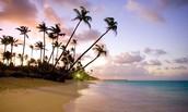 Beautiful sunset in Dominican republic