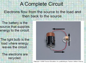 Review each component to COMPLETE a circuit