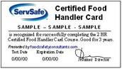 Food Handler's certificate