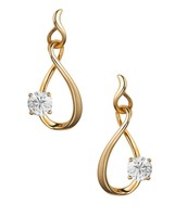 GOLD PLATED EARRING PAIR ADORNED WITH DIAMOND SPARKLING