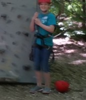 Hannah is ready to climb!