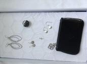 Badot hoops, etoile drops( SOLD),demi earrings, midnight bloom ring,Soho key pouch( SOLD)