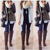scarfs, jewelry, jeans