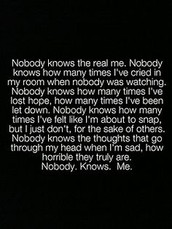 """Nobody really """"knows"""" me"""