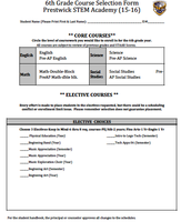 6th grade course selection page