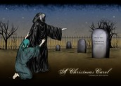 Showing Scrooge his grave.