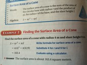 how to find the 'surface area of a cone'