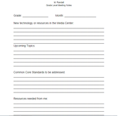 Grade Level Planning Worksheet