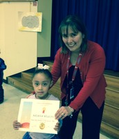 Pre-K student- Ariana Wilkins with Ms. Sotelo