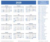 Calendar in 2020